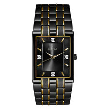 Bulova Men's 98D004 Diamond Markers Rectangle Case Gold Accents Black Watch