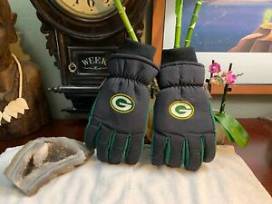 Green Bay Packers NFL Winter Ski Gloves Tailgate Game Mens Sz S/M Insulated RARE