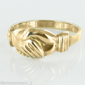 9ct Yellow Gold Claddagh Ring (Fede) Style Friendship - Large