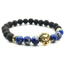 Handmade Lava Rock Bracelet Natural Stone Beads Buddha Lion Head Agate Beaded Z