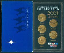 2003 U.S. STATEHOOD QUARTER COLLECTION 5-Quarters UNC Coins GOLD EDITION