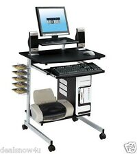Mobile Compact Computer Cart Printer Stand Cd Dvd Storage Desk Tray Home Office