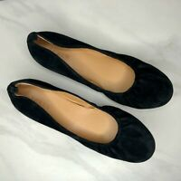 J. Crew Factory Anya Black Suede Leather Ballet Flats Round Toe Women's Size 9.5