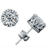 Exquisite 925 Silver Filled White Sapphire Stud Earrings Women Wedding Jewelry