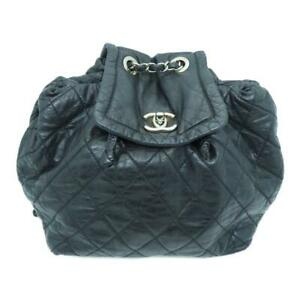 Chanel Quilted CC SHW Backpack Calfskin Leather Black 6187