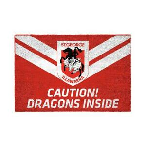 NRL ST GEORGE ILLAWARRA DRAGONS PVC BACKED FRONT DOOR MAT WITH TEAM LOGO