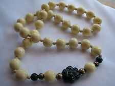 IVORY COLOR Wood/Wooden? CHUNKY BEADED NECKLACE Dark Purple CARVED FLOWER 35""