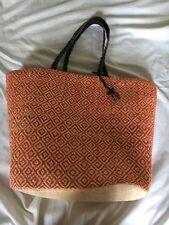 Women Tan orange Straw Large Summer colorful Tote bag leather strap
