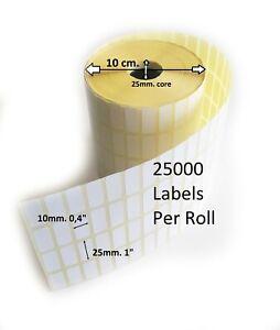 "Thermal Transfer Self Adhesive Sticky Address Printer Labels 25x10mm 0,4""x1"""