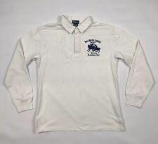 Boys RALPH LAUREN Long Sleeve Rugby Shirt Top White Big Logo Large Age 16/18