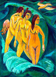 Three Bathers A1+ by Ernst Ludwig Kirchner High Quality Canvas Art Print