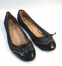 beautiful SWEET BALLERINA black leather sparkly glitzy ballet flats loafers 8