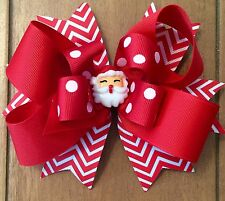 GIRL'S CHRISTMAS  HAIR BOW HAIRBOWS BOWS - 5 INCH HAIR BOW BOWS - SANTA