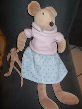 doudou peluche souris grise La grande Famille robe bleu + bébé MOULIN ROTY 46cm
