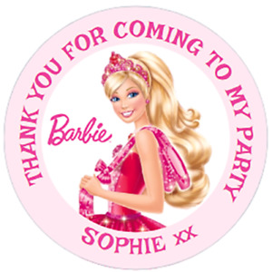 48 PERSONALISED BARBIE INSPIRED Party Bag  STICKERS  40mm