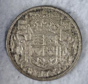 CANADA 50 CENTS 1947 XF/AU SILVER  (stock# 508)