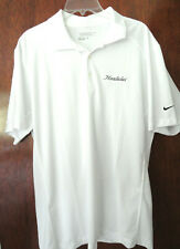 Mens Nike Golf Tour Performance Dri-Fit White Hualalai Golf Shirt Size L