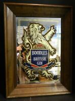 "Vintage Framed Boodles British Gin Imported Bar Mirror 23"" x 17"" Very Good Cond"