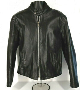 XELEMENT Mens Black Leather Motorcycle Jacket Tag Size 2XL (Read)