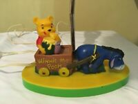 Rare Disney Eeyore pulling Winnie the Pooh Eating Honey in a Wagon Lamp Vintage