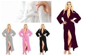 Ladies Hooded Dressing Gown Terry Towel Bathrobe Lightweight Comfy Nightwear
