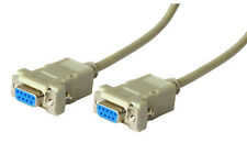 Nullmodem Kabel RS232 9-polig Buchse BU/BU female F/F D-Sub Receiver SAT PC 1,8m