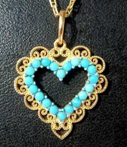 Vintage French Clover Turquoise Charm Love Pendant Necklace 10K Yellow Gold Over