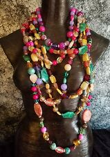 MASSIVE Colorful 7 Strand Summer Tropical Gemstone Statement Necklace Carnivale