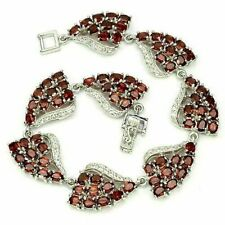 Sterling Silver Bracelet Red Garnet Genuine Natural Gems 7 1/2 Inch