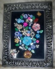 Vintage Jewelry Art Bouquet, signed, and framed