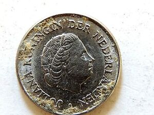"1962 Netherlands Twenty Five (25) Cent ""Juliana"" Coin"