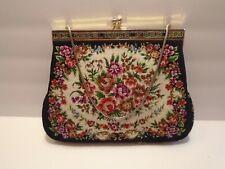 Petit Point Evening Handbag Floral Rose Decor