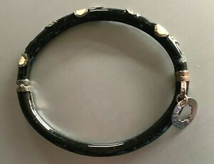 Rosato Italian Black with Off-white Circles Enameled 925 Silver Bangle Bracelet