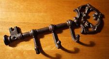 Rustic Primitive Style Brown Cast Iron Skeleton Key 3 Hook Hanger Home Decor New