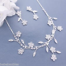 Crystal Necklace Set Bridal Wedding Bridesmaid Gift Silver Sp Flower Design #46