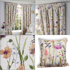 """Sundour Hampshire Lined Floral Ready Made 3"""" Tape Top Pencil Pleat Curtains Pair"""