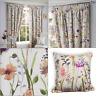 """Hampshire Lined Floral Heather Ready Made 3"""" Tape Top Pencil Pleat Curtains Pair"""