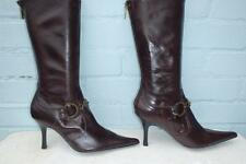 ~ KAREN MILLEN LEATHER BOOTS ~ Ladies Size 6 39 ~ SEXY BROWN ALL LEATHER BOOTS