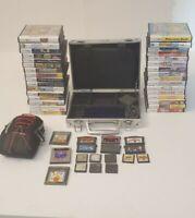 Nintendo DS Lite bundle 50 games hard and soft cases Cobalt Blue Pokémon READ
