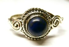 Handmade 925 Sterling Silver Patterned Ring with Real Lapis Lazuli Stone Size P