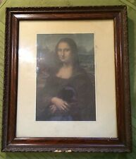 """Antique 14"""" x 12"""" Picture Frame w Floral Inlet Design & Pict. of The Mona Lisa"""