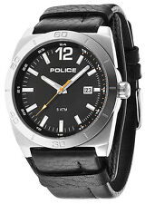 Police 14107JS-02 Stampede Black Dial Black Leather Strap Men's Watch