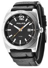 Police 14107JS-02 Stampede Black Dial Black Leather Strap Men's Watch