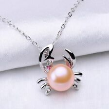 "18"" Silver Tone Pink Freshwater Cultured Pearl Crab Pendant Necklace Gift Box AB"