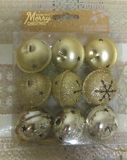 Christmas Tree Decorations 9 Sliver & gold Glitter  BELLS in a pack ****NEW*****