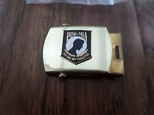 US MILITARY POW/MIA INSIGNIA ON A SOLID BRASS BELT BUCKLE MADE IN THE U.S.A
