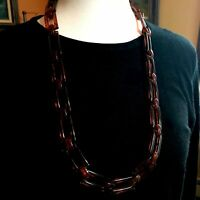 "30"" Tortoise Plastic Geometric Rectangle Necklace over 40 Links Retro Sweet"