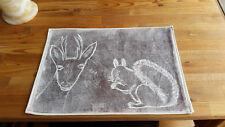 Tischsets Platzsets Baumwolle natur handmade Linoldruck Landhausstil shabby stil