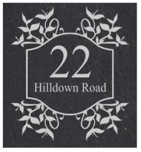 Personalised leaf frame Slate Door Gate Plaque number name plate Sign