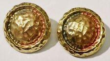 boucles d'oreille clips bijou vintage ronde en relief reflet couleur or *3597